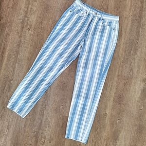 American Eagle striped high rise mom jeans